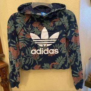 ADIDAS Girls Floral Hoodie Crop Top Size 11/12Y